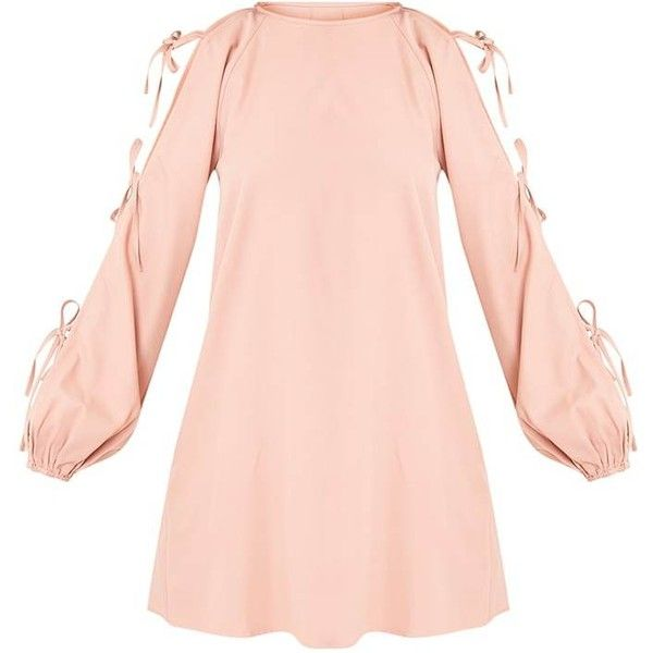 Ryna Dusty Pink Cold Shoulder Tie Sleeve Shift Dress ($44) ❤ liked on Polyvore featuring dresses, open shoulder dress, long-sleeve shift dresses, cut-out shoulder dresses, pink dress and sleeved dresses