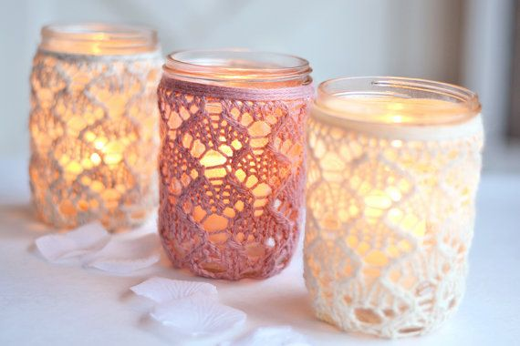 CLOSING SALE // Covers Only: Set of 3 PINT Size, Mason Jar Lanterns, Lace Mason Jars, Wedding Lights - Etsy