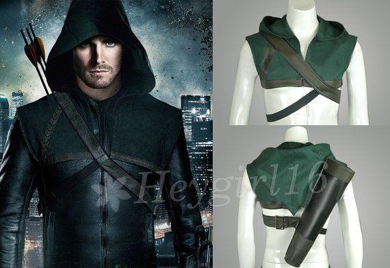 Hot Trendy Green Arrow Oliver Queen Vest Cosplay Costume with Arrow Carrier