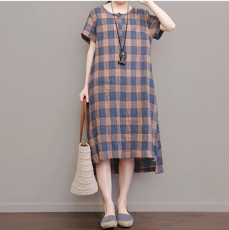 Grid vintage cotton linen long dress