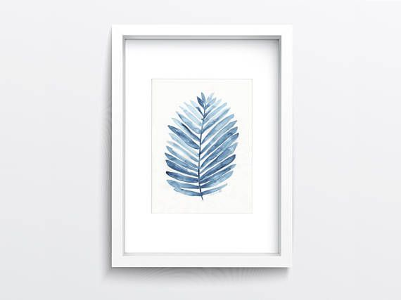 Blue Watercolour Palm Leaf Original Painting Leaf Wall Art