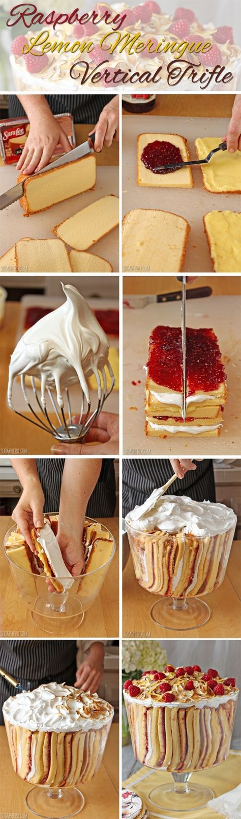 How to Make Raspberry Lemon Meringue Trifle - Sara Lee pound cake with homemade lemon curd, meringue and raspberry jam