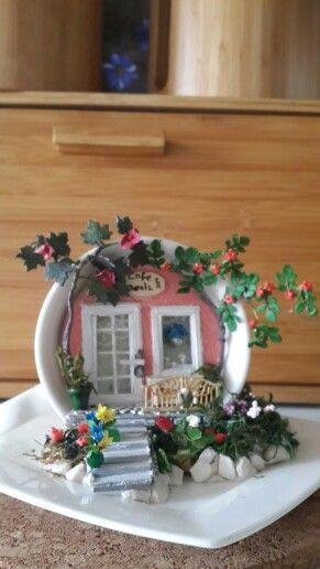 tea cup & saucer miniature house :)