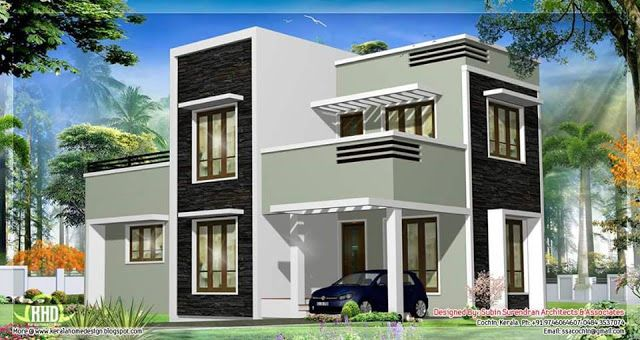Two Floor Houses With 3rd Floor Serving As A Roof Deck Flat Roof House Two Story House Design Courtyard House Plans
