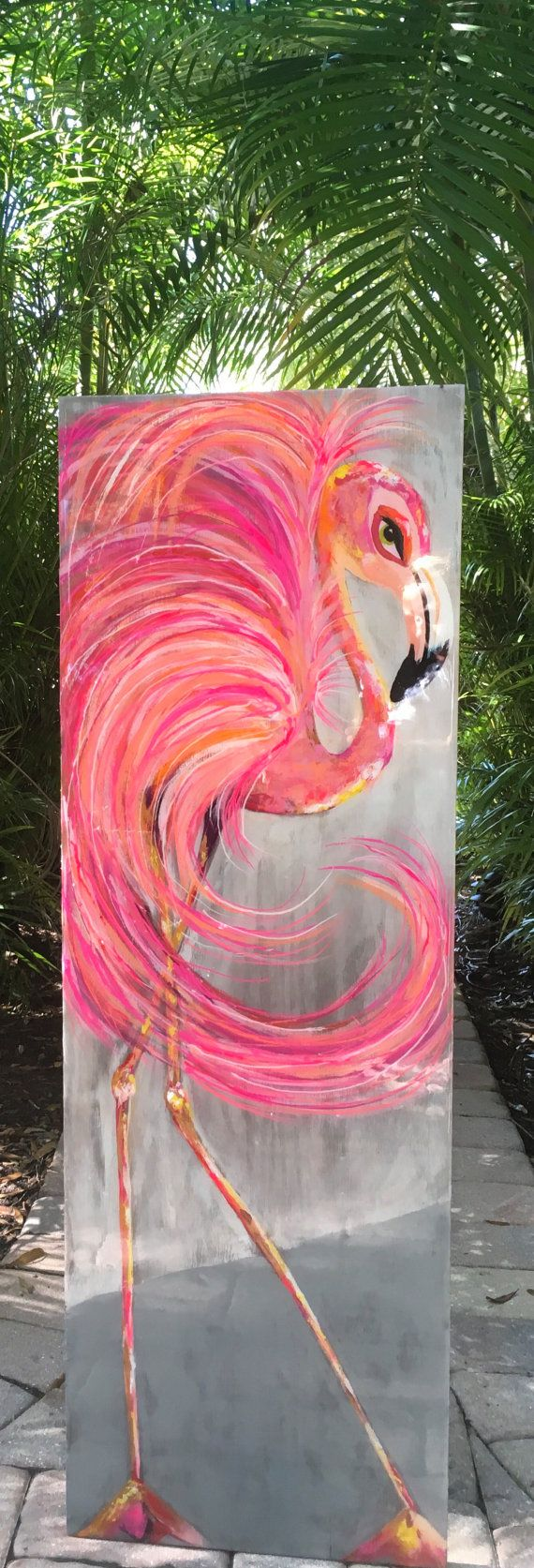 Flamingo painting in gorgeous swirls of  fluffy pink feathers!