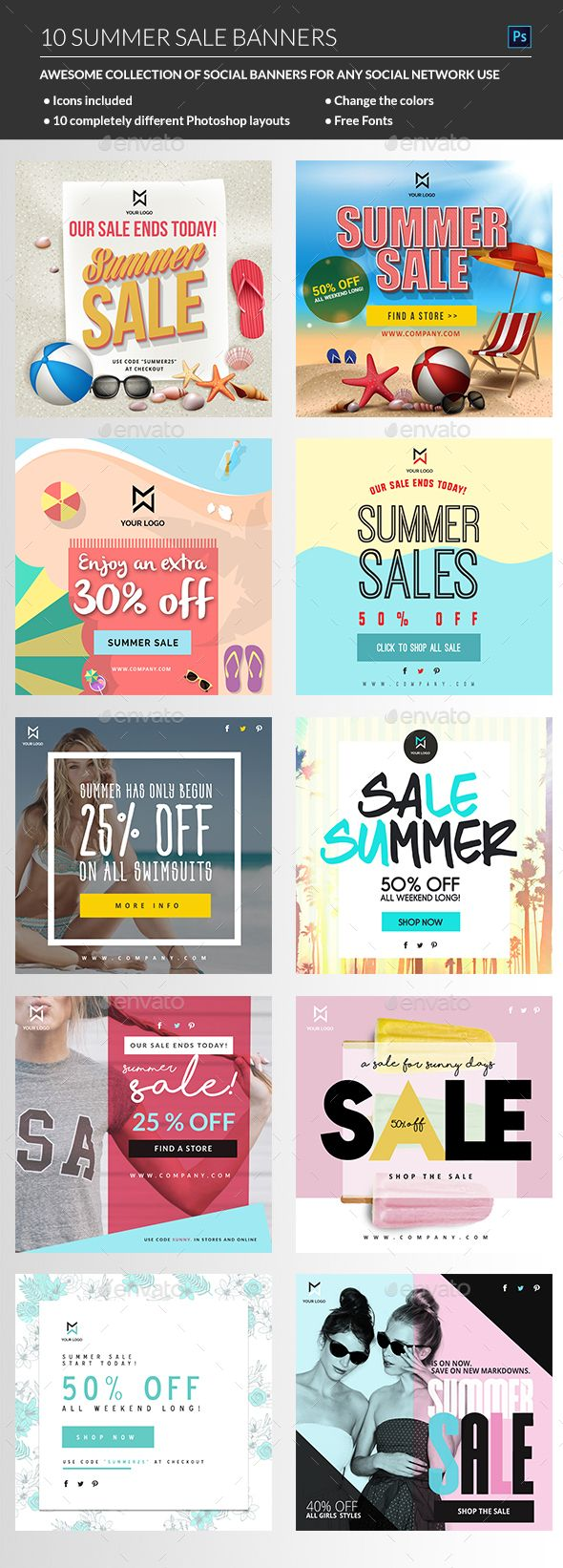 Hot Summer Sale Banners PSD Template • Only available here ➝…