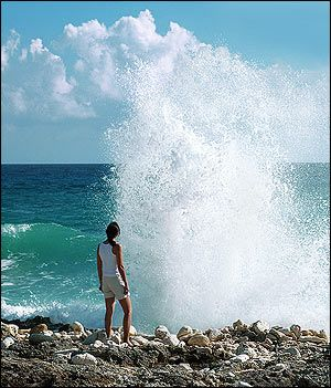 Blow Holes - Grand Cayman Island - When the easterly trade winds blow hard, crashing waves force water into caverns and send impressive geysers shooting up as much as 20 feet through the ironshore. The blowholes were partially filled during Hurricane Ivan in 2004, so the water must be rough to recapture their former elemental drama