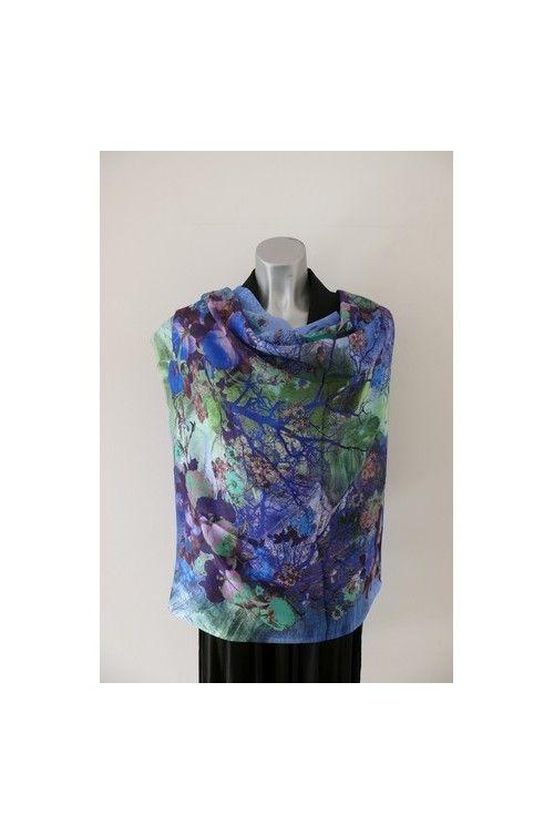 sjaal met landschap blauw