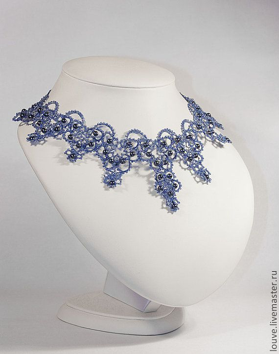 Tatted necklace Weddind Lace lace bridal necklace por LacyJewelry