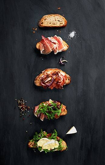 Open Faced Sandwich with Brie, Prosciutto, Caramelized Onion and Arugula