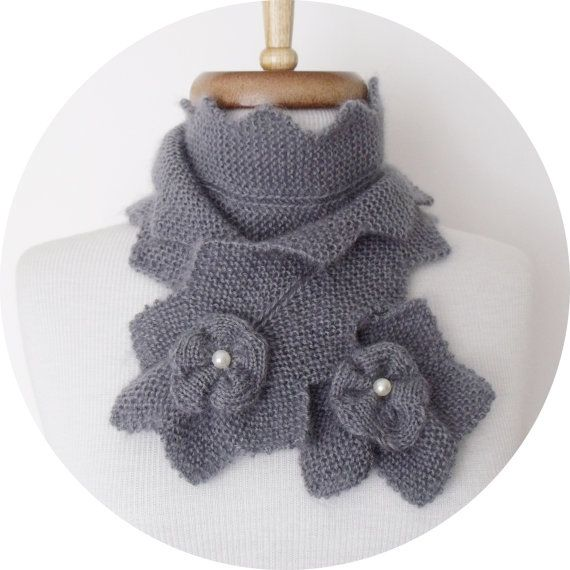Grey Star Mohair Scarf-Ready for shipping by knittingshop on Etsy