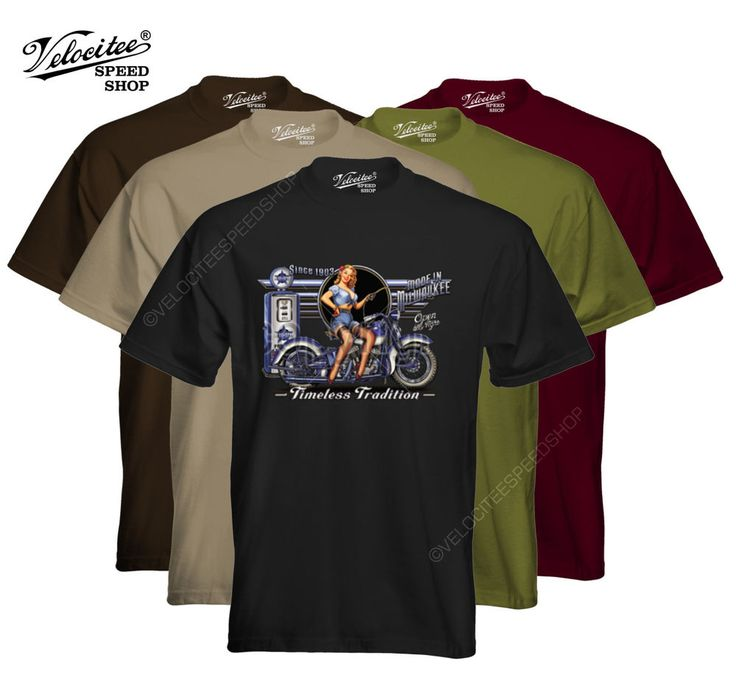 Velocitee Mens T-Shirt Timeless Tradition Biker Harley Pin Up Motorcycle W14018 #VelociteeSpeedShop