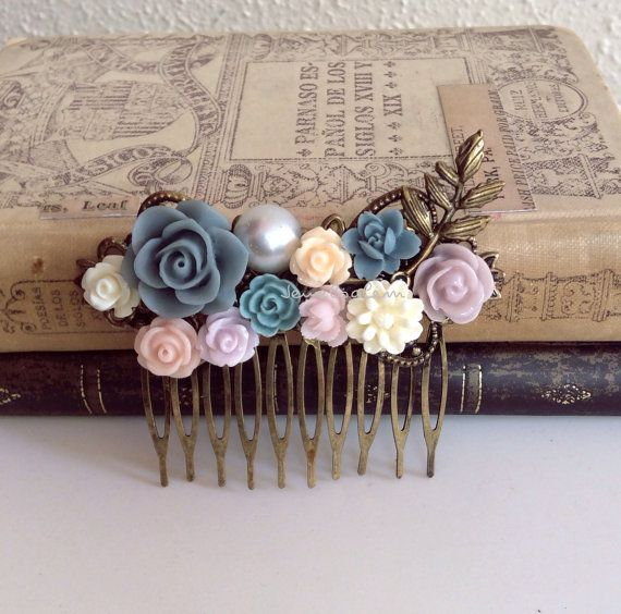 Wedding Comb Blue Gray Bridal Hair Accessories Lilac Purple Dark Blue Flower Hair Comb Leaves Floral Head Piece Pearl Woodland Rustic Fairy Tale Fantasy