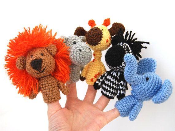 5 finger puppet crocheted lion giraffe elephant zebra von crochAndi, $32,00