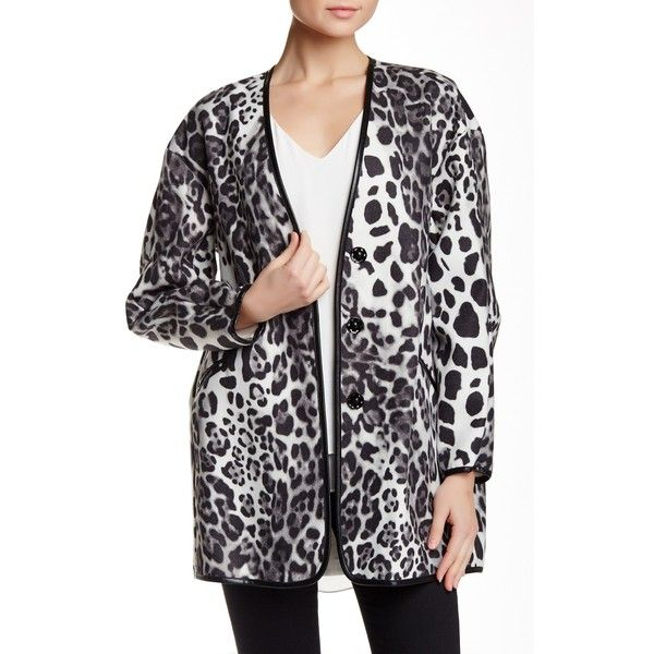 Karen Kane Printed Faux Leather Trim Jacket ($110) ❤ liked on Polyvore featuring outerwear, jackets, bgy, karen kane jacket, karen kane and long sleeve jacket