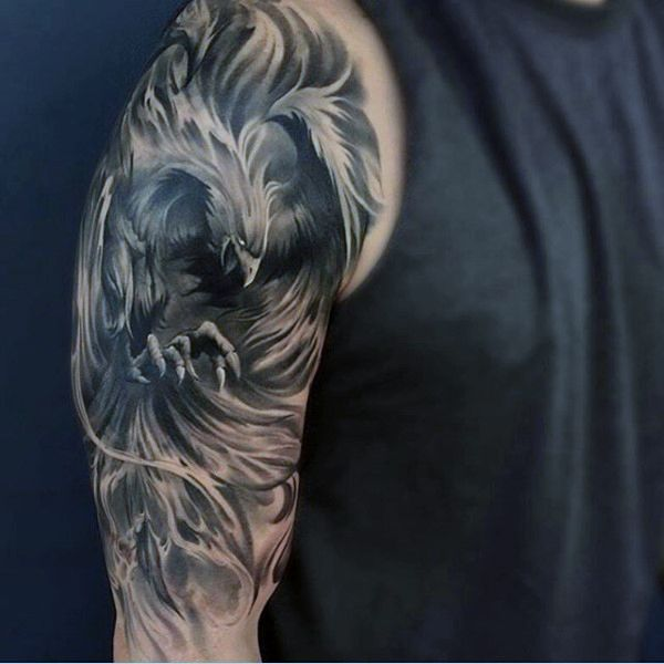 Greek Mythology Badass Phoenix Mens Half Sleeve Tattoos                                                                                                                                                     More
