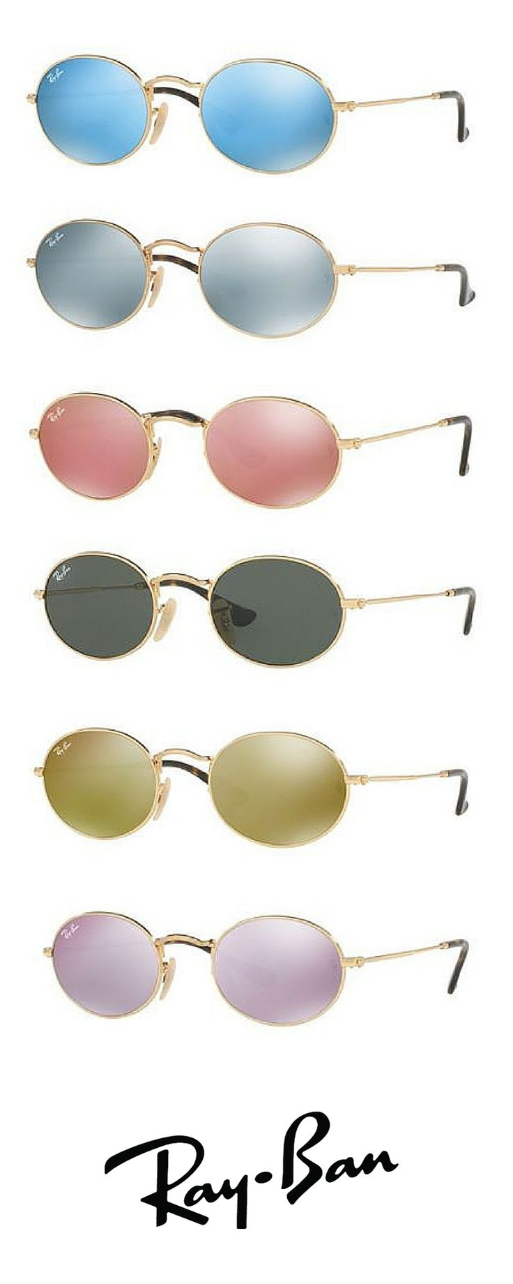 Bring some cool colors to your look with a pair of Oval Ray-Ban sunglasses