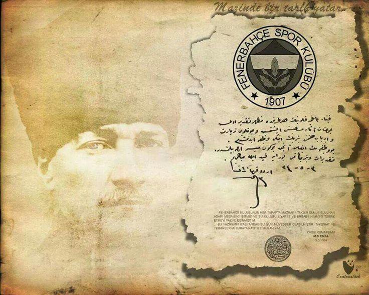 Fenerbahçe müzesinde Mustafa Kemal Atatürk'ün kurtuluş savaşına verdiği destekten dolayı Fenerbahçe kulübüne gönderdiği teşekkür mektubu... İşte bu yüzden Fenerbahçeli olmaktan gurur duyuyorum.