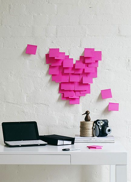 post-it loveWall Art, Ideas, Wall Decor, Valentine Day Gift, Heart, Offices Spaces, Workspaces, Diy Valentine Day, Post It