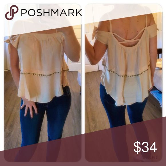 Beige off shoulder strappy top Really fun top with off the shoulders you can tie/adjust yourself. Unique Strappy back Tops