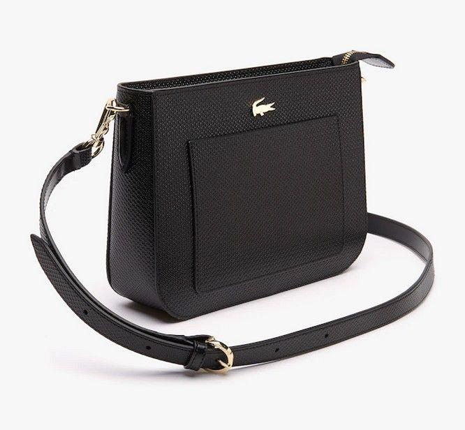 Sac bandoulière Chantaco Lacoste en cuir piqué color-block noir ...