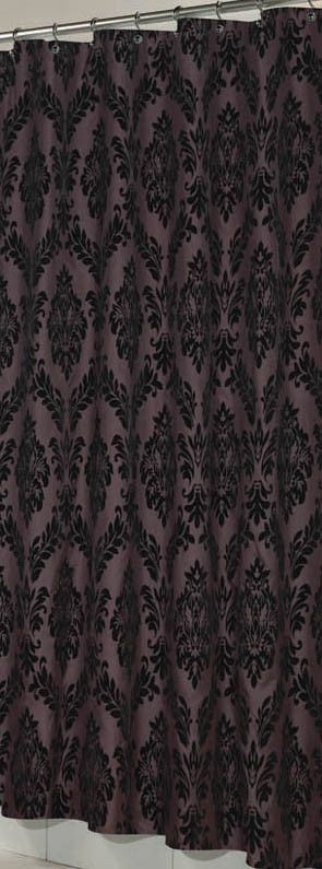 french inspired fabric shower curtain with flocking brown u0026 black