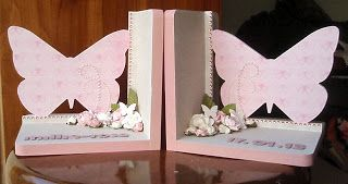 Gorgeous pink personalised butterfly bookends