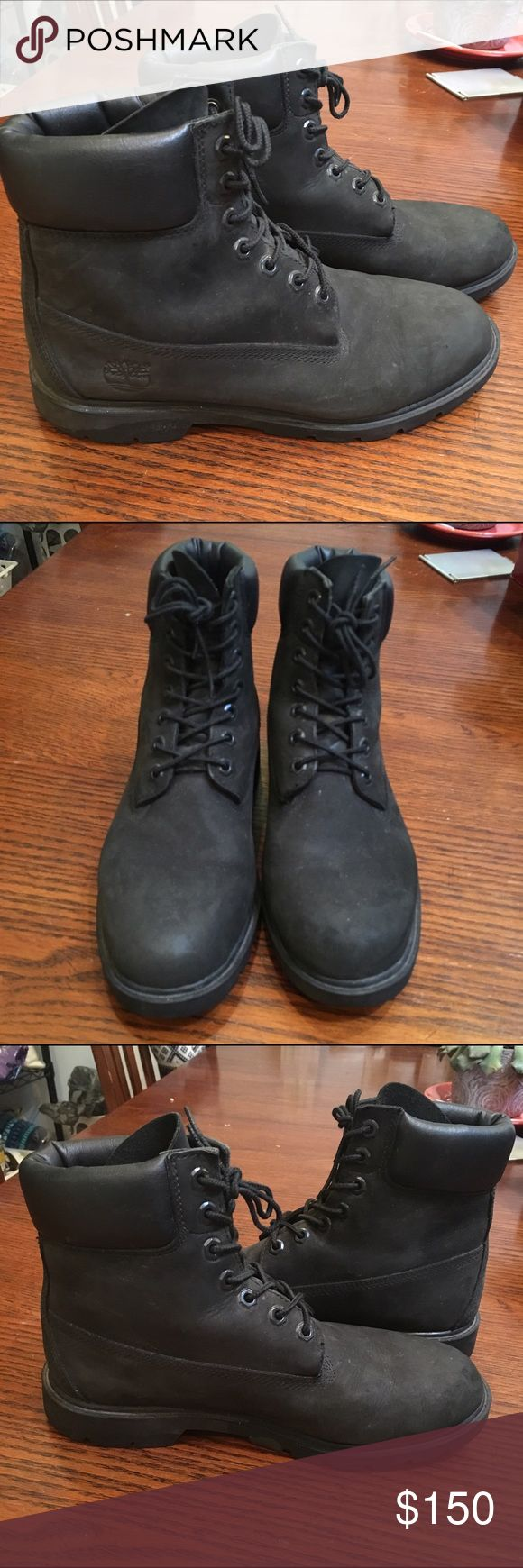 All black Timberland boots All black classic Timberland boots! Beautiful condition barely worn. Men's size 8. Translates to women's 9.5 Timberland Shoes Winter & Rain Boots
