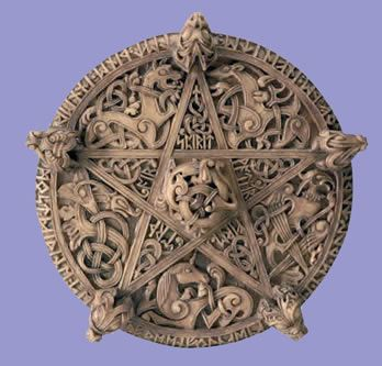 The Pentacle, carved in Anglo-Saxon style, was known as the Seal of Solomon. It is a symbol of Earth and Prosperity as seen in the tarot.