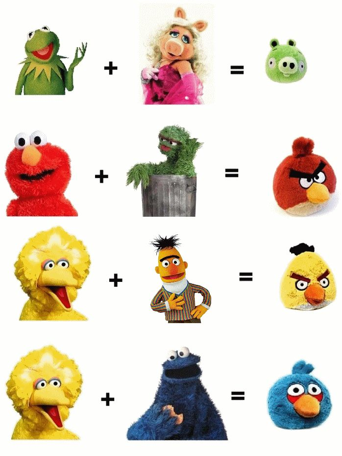 I knew those Angry Birds looked familiar. Muppet + Muppet = Angry Bird