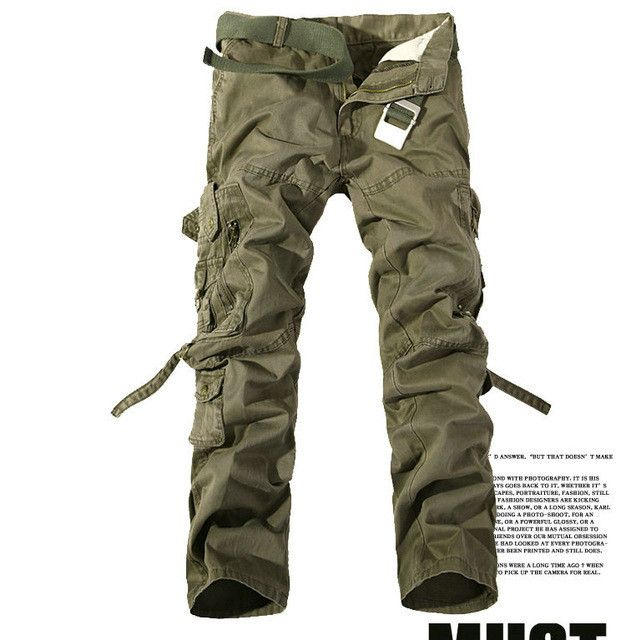 2017 High quality Men Cargo Pants Multi-pockets Baggy Pants Cotton Military Camouflage Trousers