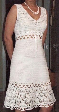White Pineapple Border Dress free crochet graph pattern <----  Needs a liner or full slip.  I can see the undies!