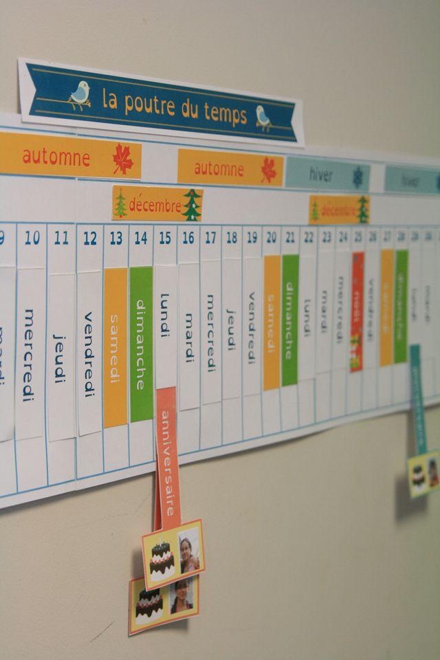 La poutre du temps Montessori à télécharger (free!) chez Hoptoys: Le fichier (9 planches au format A4) contient : la poutre du temps sur 31 jours (à imprimer pour chaque mois) les jours les mois les saisons les étiquettes anniversaires Noël