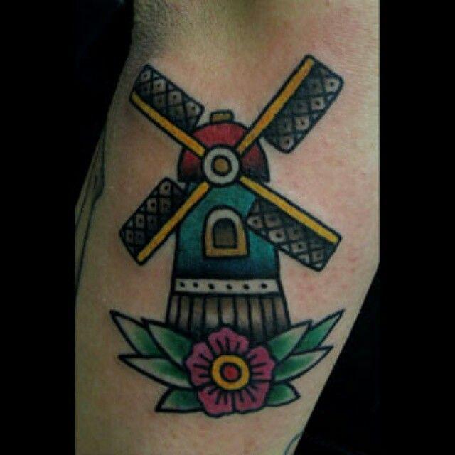 Traditional #tattoo #windmill #tattoos, done by #vassotats lowbrow,#eightballtattoostudio