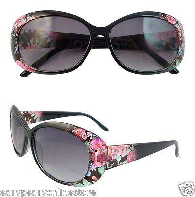 New Black ladies sunglasses with floral design UVA UVb UV400 Womens Sunglasses