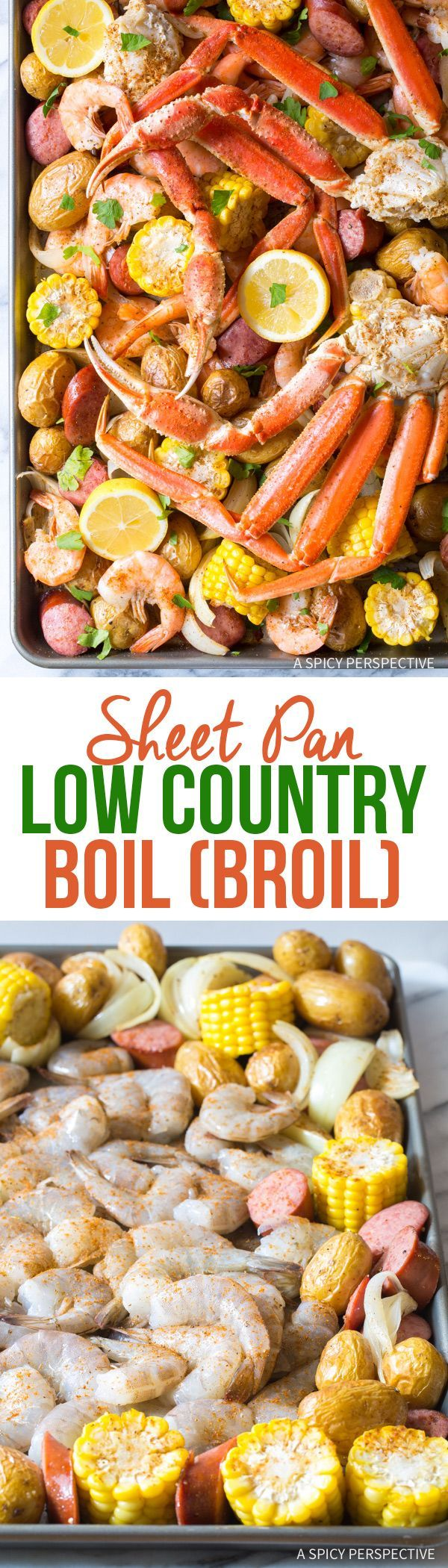 Easy Sheet Pan Low Country Boil (Broil) Recipe  via @spicyperspectiv