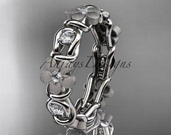 diamante platino anillo flor, anillo de compromiso, boda banda ADLR 197