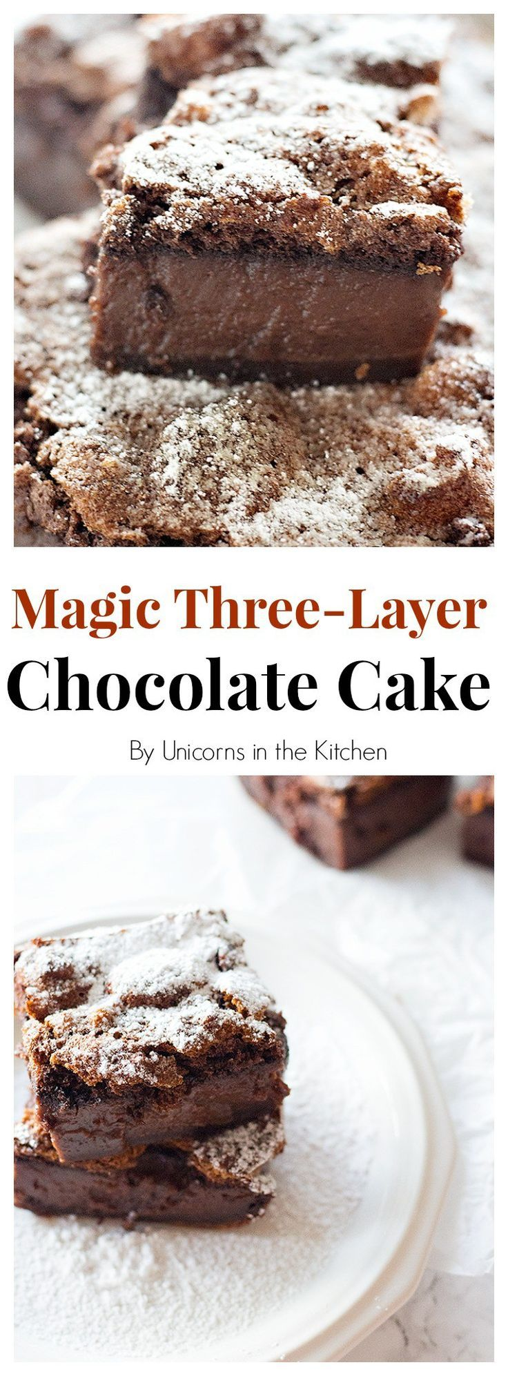 This Chocolate Magic Custard Cake has three layers of cake, custard, and souffle, all made from one batter. It satisfies any chocolate cravings!