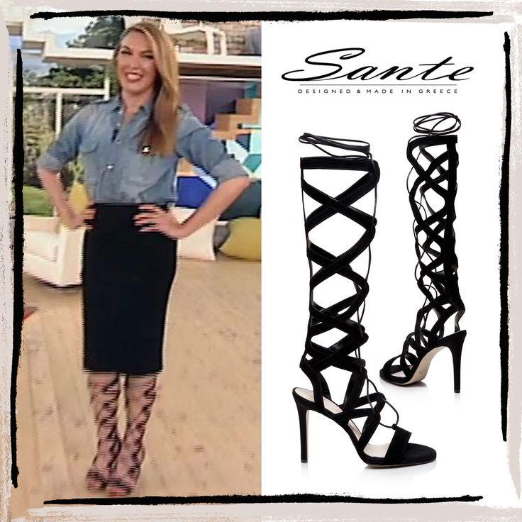 Tatiana Stefanidou in SANTE Gladiator Sandals #santeSS15 at Mia Star TV #SanteLovers Shop NOW: www.santeshoes.com