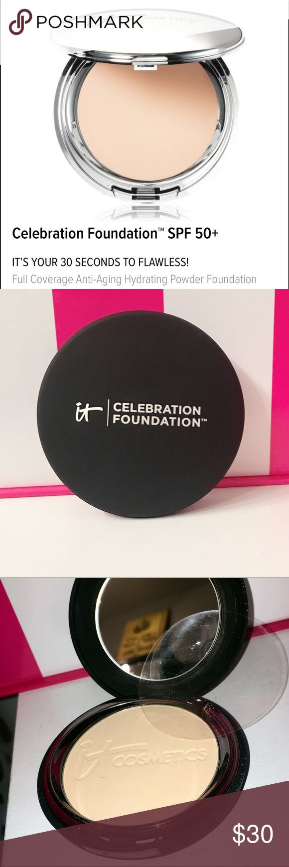 IT COSMETICS Celebration Foundation SPF 50 Best powder foundation I have tried !!! I got 2 - this one is new and untouched - only out of box for photos - SPF 50 - won't clog pores !! Perfect for Summer !! Anti Aging ! Retail $35 - IT COSMETICS  Makeup Foundation