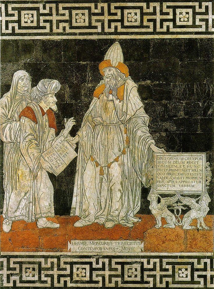 """Ermete Trimegisto (tre volte Grande) è una figura mitica nata dall'identificazione del greco Hermes (che diverrà poi Mercurio) con il più antico Ermete Thoth, il """"misterioso e primigenio iniziatore dell'Egitto alle sacre dottrine""""."""