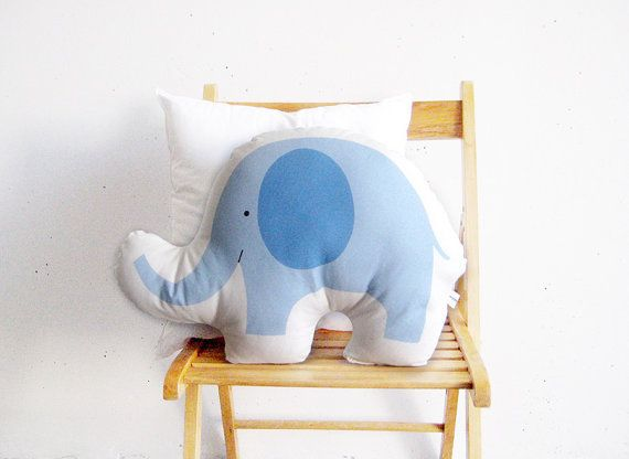 Blue elephant soft toy pillow stuffed toy by PrintsByStellaChili