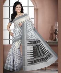White & Black Color Cotton Daily Wear Sarees : Prabha Collection  YF-43109