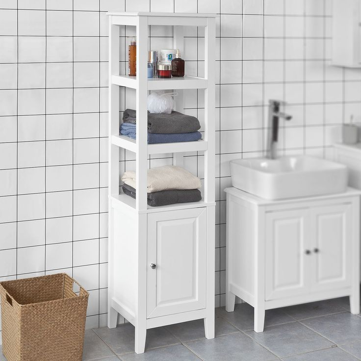 Haotian White Floor Standing Tall Bathroom Storage Cabinet With 3 Shelves And 1door Linen In 2020 Tall Bathroom Storage Cabinet Tall Bathroom Storage Bathroom Storage