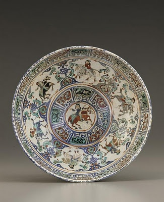 Bowl | Origin: Kashan, Iran | Period: late 12th-early 13th century Saljuq period | Details: Not Available | Type: Stone-paste painted under and over transparent glaze | Size: H: 8.5 W: 20.3 D: 20.3 cm | Museum Code: F1945.8 | Photograph and description taken from Freer and the Sackler (Smithsonian) Museums.