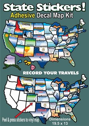 STATESTICKERMAP State Sticker Travel Map Sticker United States Map ...