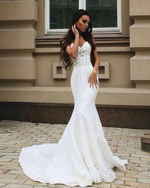 Robe de mariée sexy coupe sirène Plus