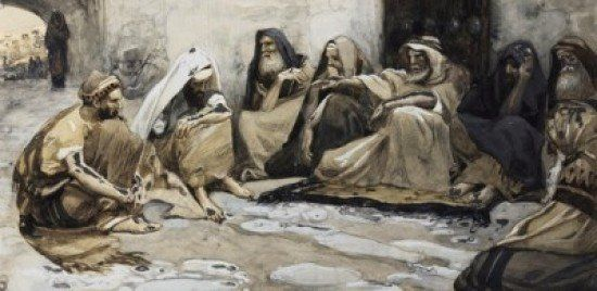Phillip Medhurst presents 234/788 James Tissot Bible c 1899 The elders at the gate Ruth 4:8 Jewish Museum New York. By a follower of (James) Jacques-Joseph Tissot, French, 1836-1902. Gouache on board.