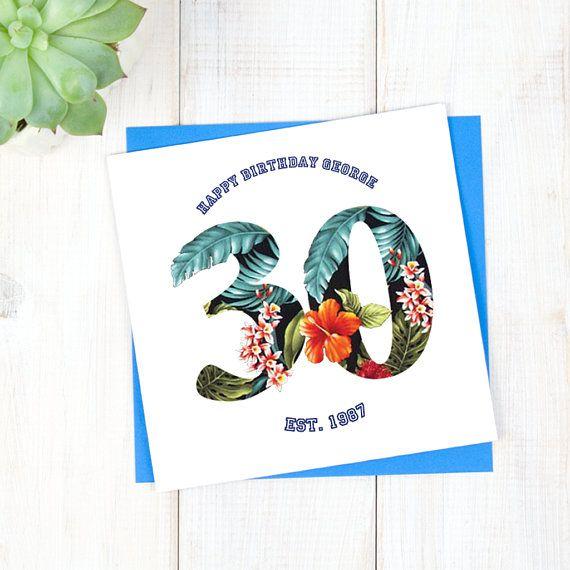 30th Birthday Card - Personalised Birthday Card - Hawaiian Birthday Card - Birthday Age Card - Mens Birthday Card - Milestone Birthday Card - Etsy - LetsDreambyChiChiMoi