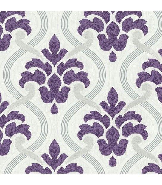 Tapet vinil alb lila model frunze 53 cm latime Memphis PS International 13306-20